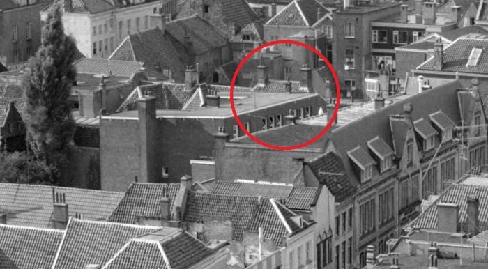 Bakkerstraat luchtfoto 1960 detail